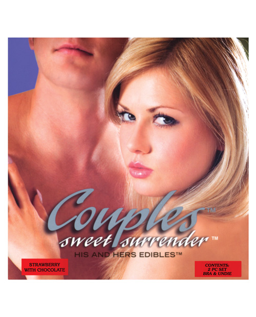 Couples Sweet Surrender His & Hers Edible Undies - Strawberry w/Chocolate Pack of 2