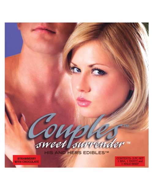 Couples Sweet Surrender His & Her Edible Undies - Strawberry w/Chocolate Pack of 3