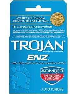 Trojan Enz Spermicidal Lubricated Condoms - Box of 3