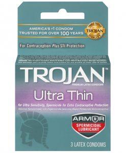 Trojan Ultra Thin Armor Spermicidal - Box of 3
