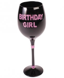 Birthday Girl Wine Glass w/Pink Stones - Black
