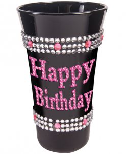 Happy Birthday Shot Glass w/Pink Stones - Black