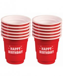 Happy Birthday Plastic Shot Glasses - Red Set of 12