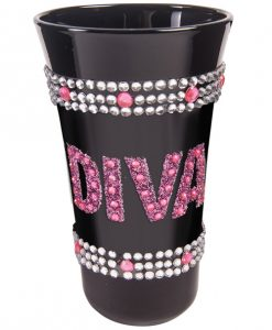 Diva Shot Glass w/Pink Stones - Black