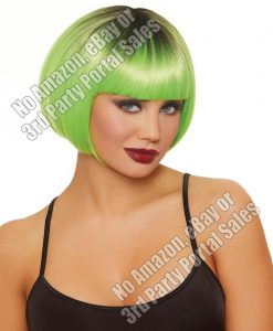 Dip Dye Short Bob Wig - Neon Green/Black