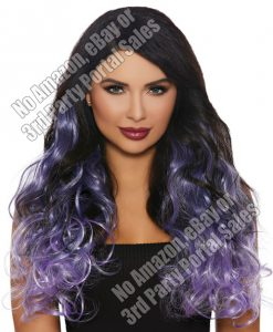 Long Curly Ombre 3 pc Hair Extensions - Gun Metal/Lavender/Lilac