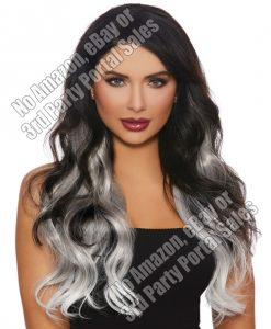 Long Wavy Ombre 3 pc Hair Extensions - Gray/White