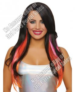 Long Straight Layered 3 pc Hair Extensions - Magenta/Neon Pink/Orange