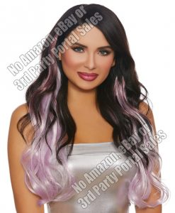 Long Wavy Layered 3 pc Hair Extensions - Burgundy/Pale Lavender