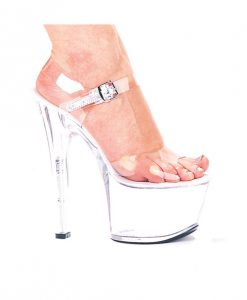 "Ellie Shoes Flirt 7"" Pump 3"" Platform Clear Six"