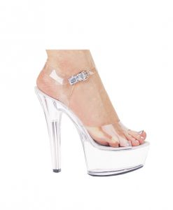 "Ellie Shoes Brook 6"" Pump 2"" Platform Clear Ten"