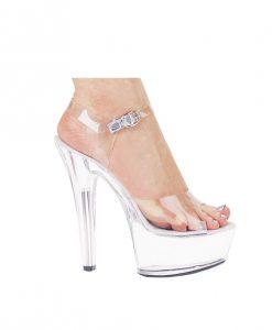"""Ellie Shoes Brook 6"""" Pump 2"""" Platform Clear Nine"""