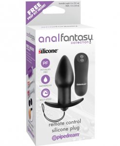 Anal Fantasy Collection Remote Control Silicone Plug - Black