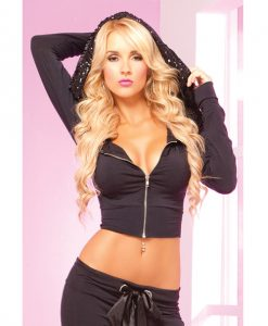 Pink Lipstick Loungewear Stretch Cropped Hoodie w/Giant Sequin-Lined Hood Blk LG