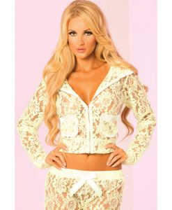 Pink Lipstick Loungewear Luxurious Lace Pocket Hoodie Green MD
