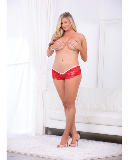 Holiday Crotchless Naughty List Panty Red/White QN