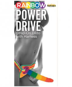 "Rainbow 7"" Strap On Dildo w/Harness"