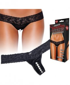 Hustler Stimulating Panties w/Pearl Pleasure Beads Black M/L