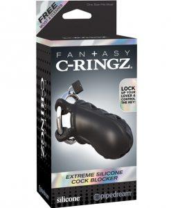 Fantasy C-Ringz Extreme Silicone Cock Blocker - Black