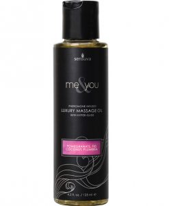 Sensuva Me & You Massage Oil - 4.2 oz Pomegranate Fig/Coconut Plumeria